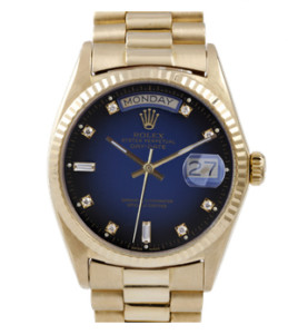 Pre-owned Rolex Mens 18K Yellow Gold Day Date President Watch - Factory Blue Vignette Diamond Dial Fluted Bezel Model