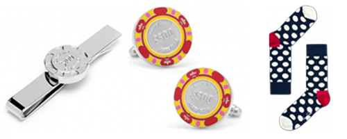 You can say 'casino through your accessories by either showing it or by suggesting it. Here are some accessories featuring poker chips and a black-white-red pair of socks