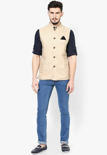 A casually worn linen Nehru jacket