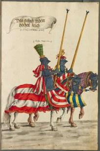 Burgkmair Tournament Book. Green and yellow are complementary colors.