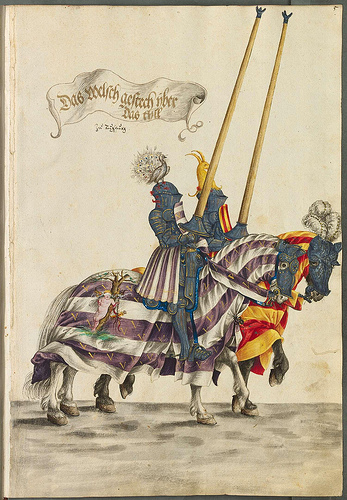 From the Burgkmair Tournament Book. As a royal color, purple, is made to be singular and stand out with a neutral.