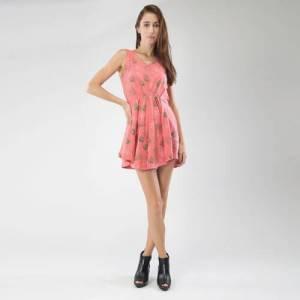 Pink V neck dress face