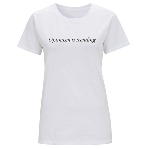 OPTIMISM IS TRENDING SLOGAN ORGANIC COTTON T-SHIRT – INCODE (WHITE)