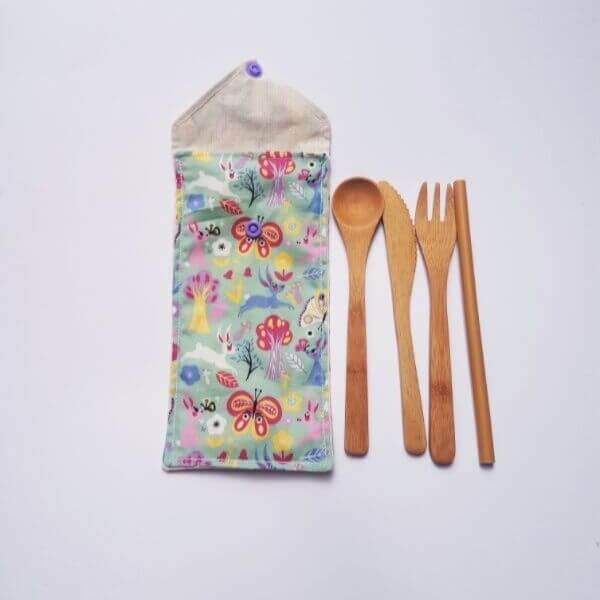 Children's Reusable Bamboo Travel Cutlery Set (Blue Forest Design) – Leave No Trace