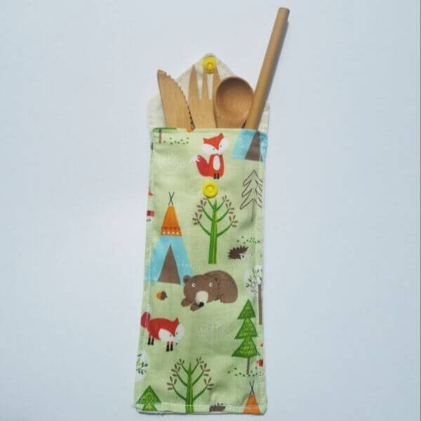 Children's Reusable Bamboo Travel Cutlery Set (Green Forest Design) – Leave No Trace