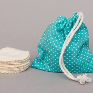 Reusable Cotton Pads (Blue Polka Dots wash bag) - Leave No Trace