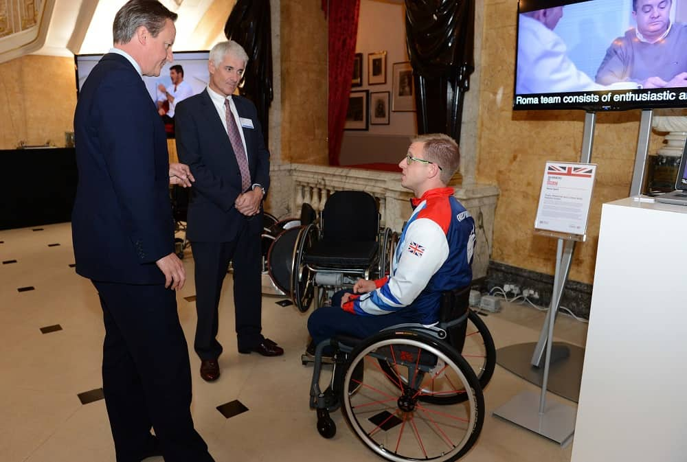 Roma Sport, David Cameron, PM, Wheelchair, sports chairs, Rugby wheelchairs