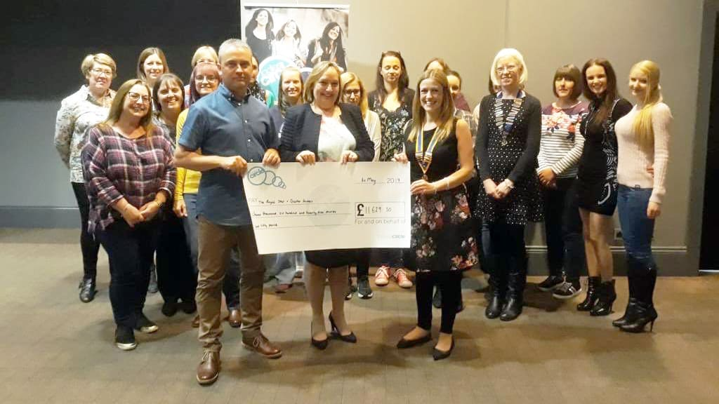 (l-r) Lee and Cheryl from The Royal Star & Garter Homes receive the cheque for £11,629.50 from Laura Rudge at a Shirley Ladies Circle meeting image