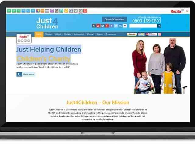 Just4Children assistive toolbar on website image