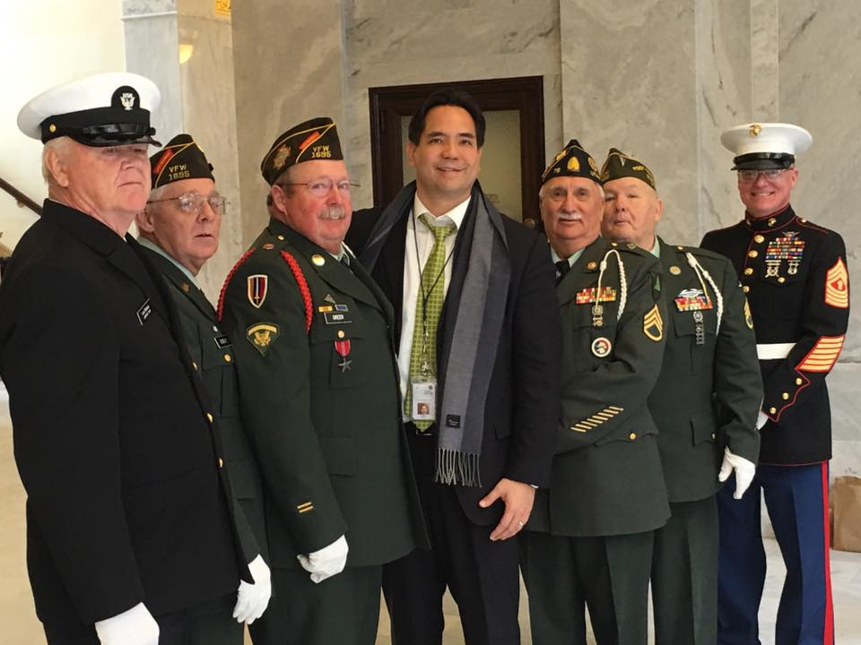 Reyes with Vietnam vets on Vietnam Veterans Day at the Capitol