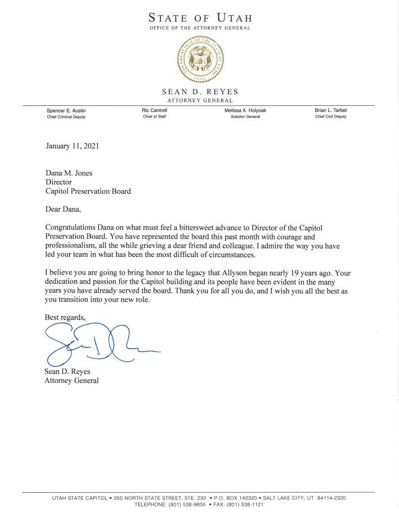 Letter to Dana Jones, Director CPB.