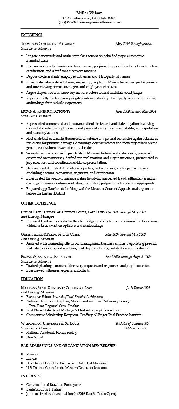 Attorney Resume Template Sample Resumes For Attorney Legal Law Students Experienced
