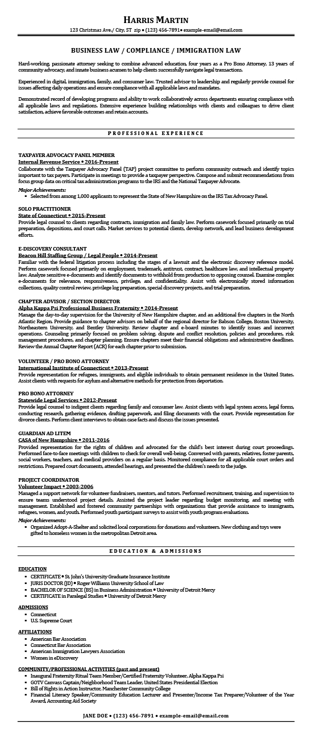 Condensed Resume Template Sample Resumes For Attorney Legal Law Students Experienced