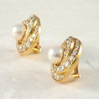 18K Yellow Gold Diamond and Pearl Earrings - Attos Antique ...