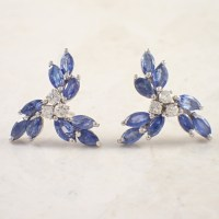 14K White Gold Sapphire and Diamond Earrings - Attos ...