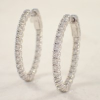 14K White Gold Diamond Hoop Earrings - Attos Antique ...