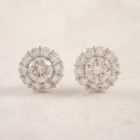 14k White Gold Diamond Cluster Earrings - Attos Antique ...