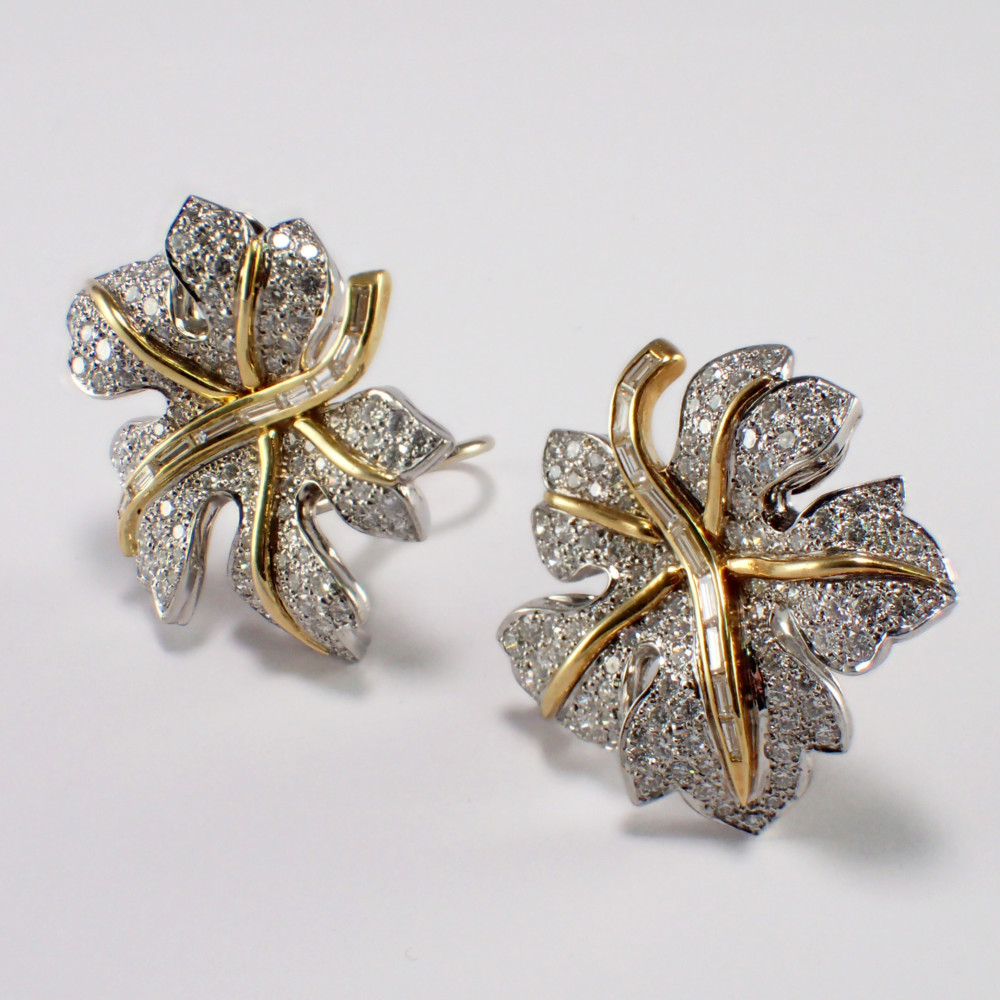 18k Yellow Gold and Platinum Diamond Earrings