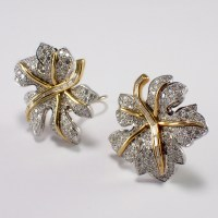 18k Yellow Gold and Platinum Diamond Earrings - Attos ...