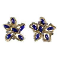 18k Yellow Gold Lapis and Diamond Earrings - Attos Antique ...