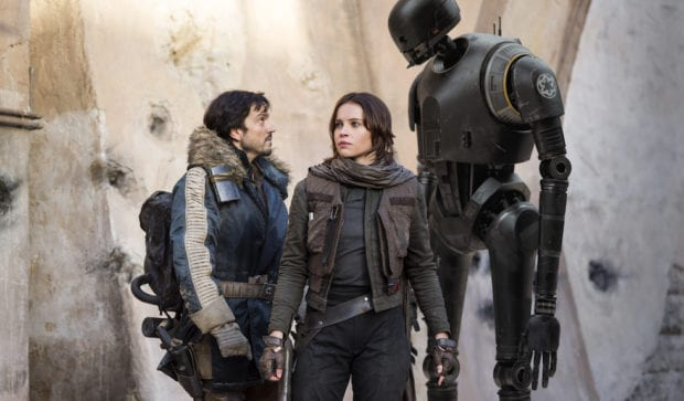 Cassian Andor (Diego Luna), Jyn Erso (Felicity Jones) and K-2SO (Alan Tudyk) in Rogue One: A Star Wars Story