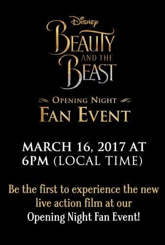 Beauty and the Beast opening night fan events