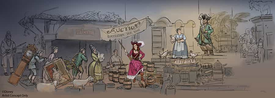 <i>An artists' rendering of the new auction scene coming to the Pirates of the Caribbean ride at Disney parks in Paris, Orlando and Anaheim.</i>