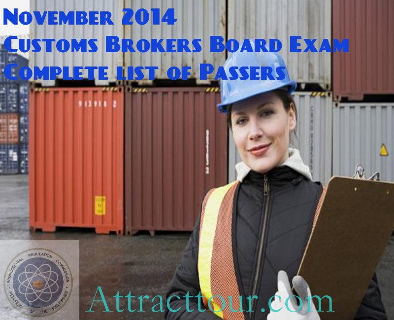 Congratulations! Customs Brokers Board Exam November 2014