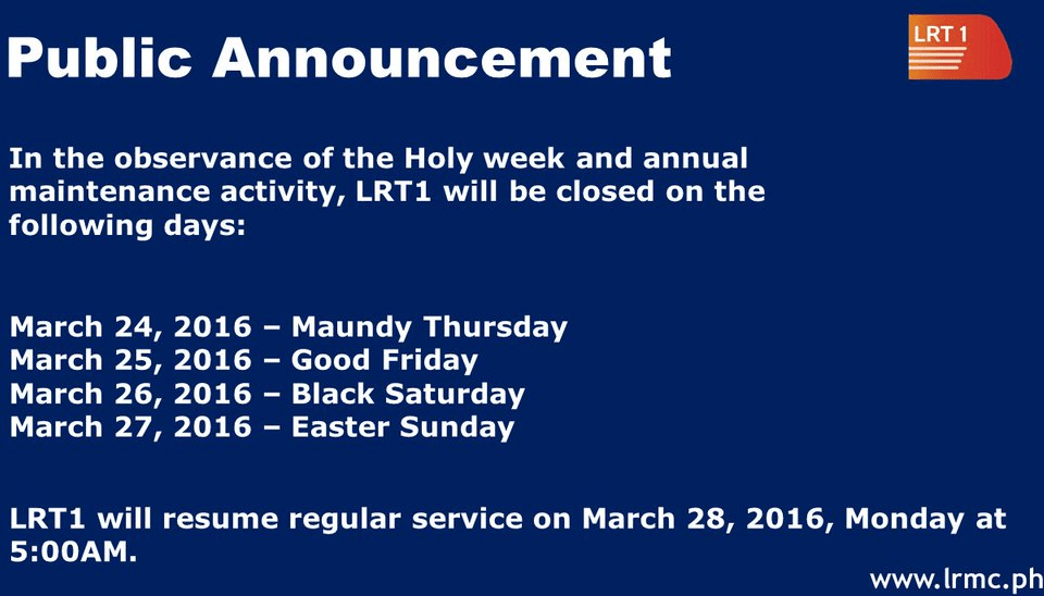 find here holy week 2016 lrt mrt pnr list of