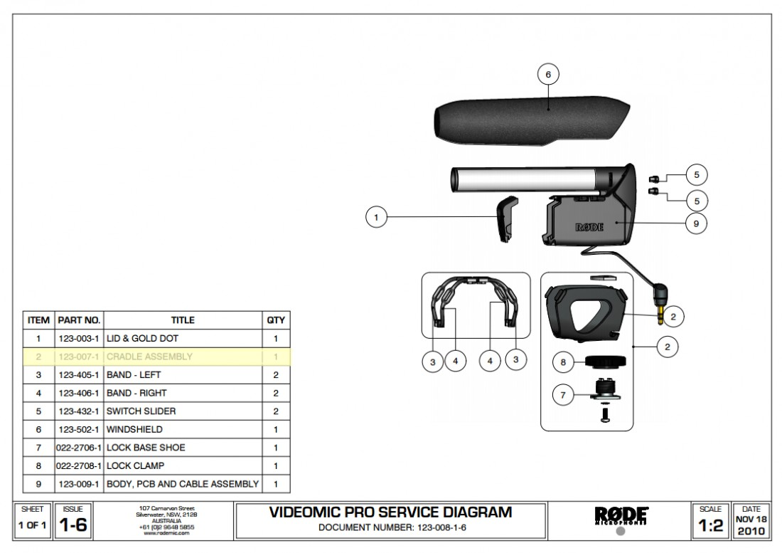 Rode Cradle Assembly Spare Parts Videomic Pro