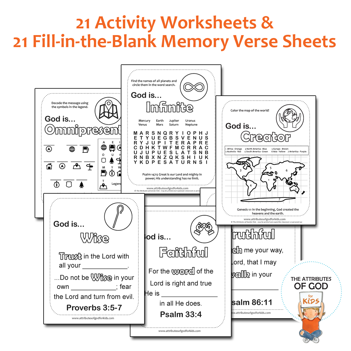 Activity And Memory Verse Worksheets