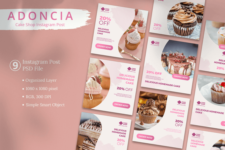 Adoncia - Cake Shop Instagram Post Template