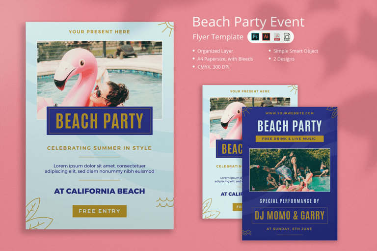 Tanti - Beach Party Flyer
