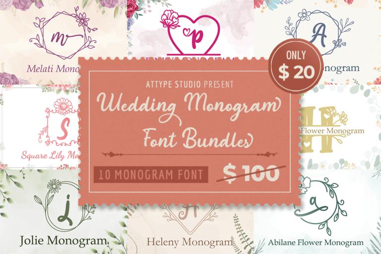 Preview image of Wedding Monogram Font Bundle