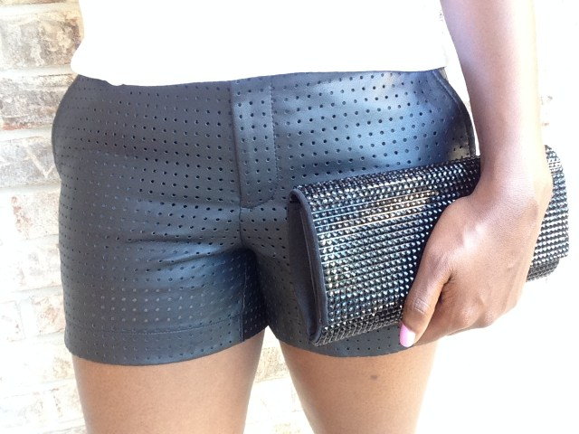 Perforated Faux Leather Shorts