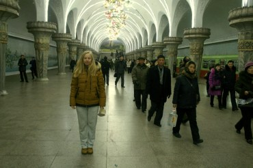 A girl in metro in North Korea