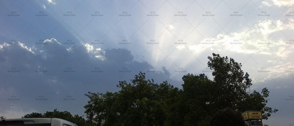 Cloud casting a beam of sun light