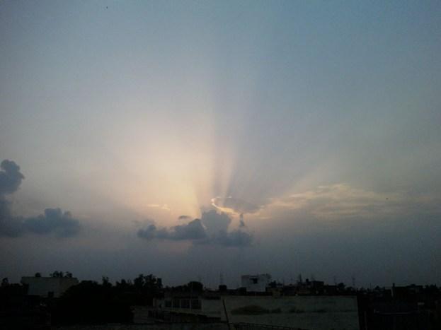 clouds casting sun set