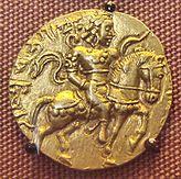 Gold coin of Gupta era, depicting Gupta king Kumaragupta holding a bow.