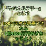 『ケミカルフリー』とは?100%天然を用意できたら1億4500万円あげちゃうよ♪