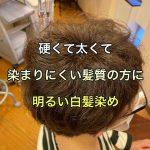 硬くて太くて染まりにくい髪質の方に明るい白髪染め(大阪美容室)