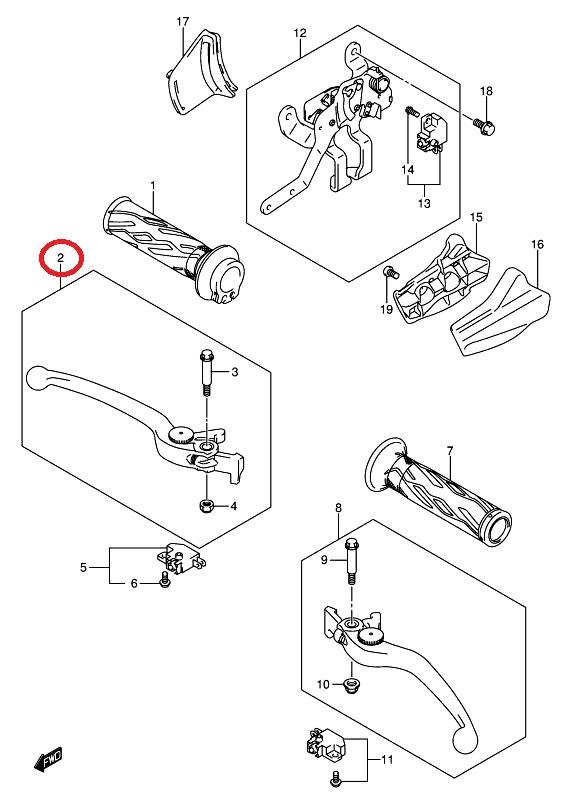 Dźwignia klamka hamulca Suzuki Burgman / V-Storm / DL 1000