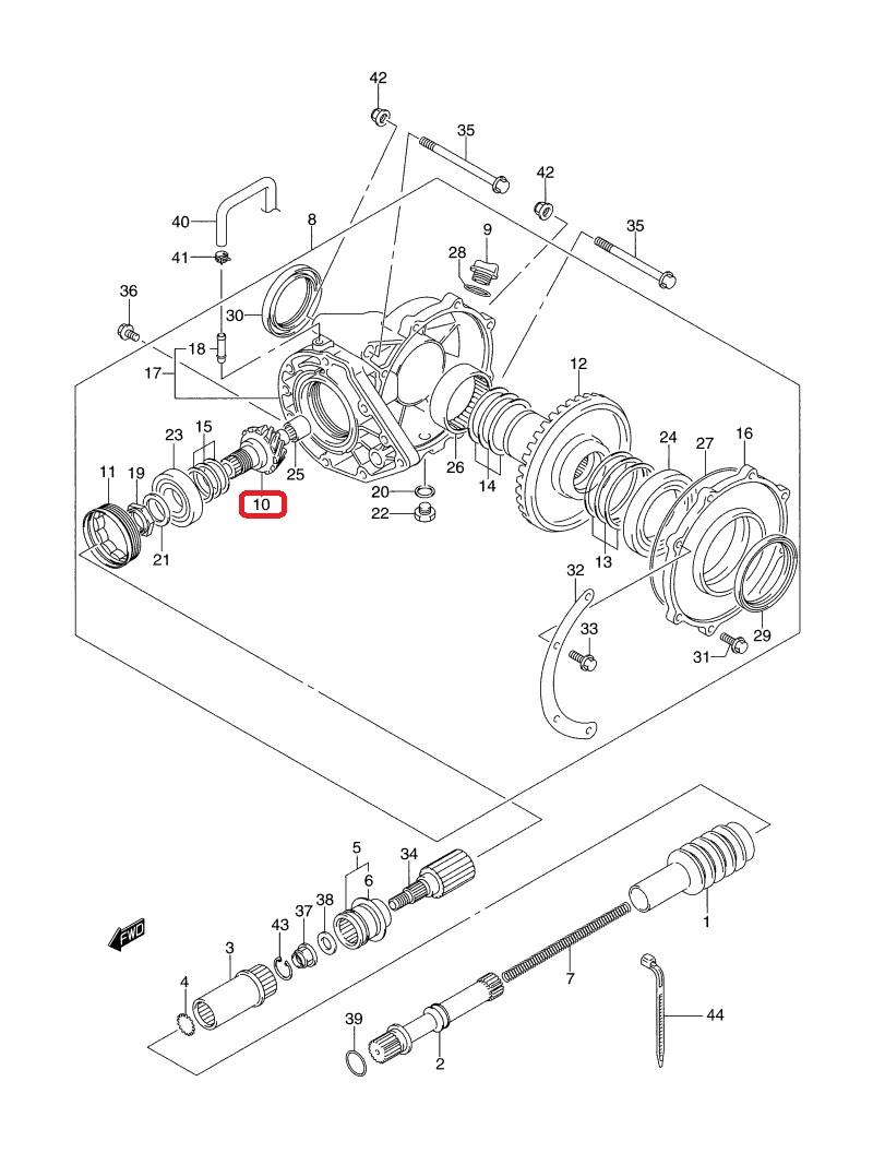 Wałek atakujący dyfer tył Suzuki KINGQUAD 700 :: ATV
