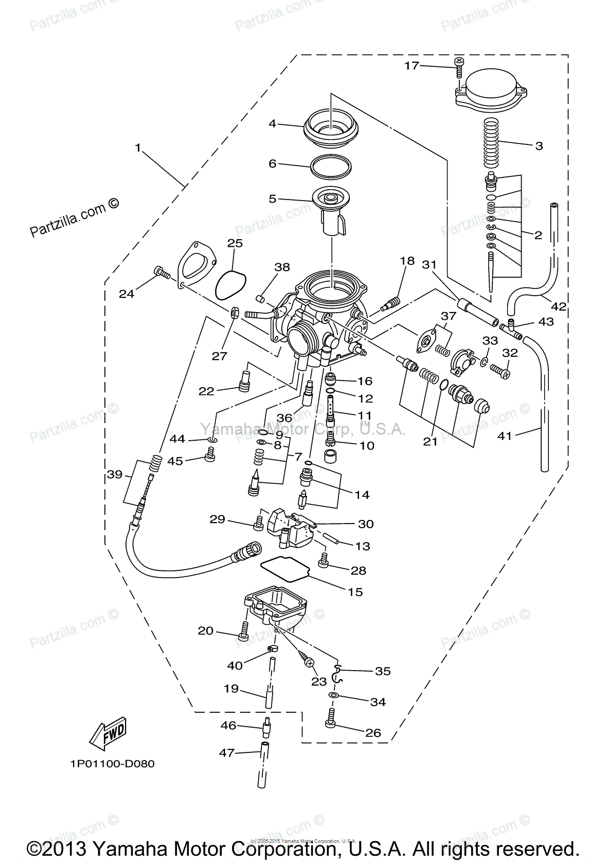 33 Yamaha Timberwolf 250 Carb Diagram