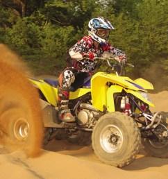 2010 suzuki ltz400 yellow front right riding on  [ 1280 x 960 Pixel ]