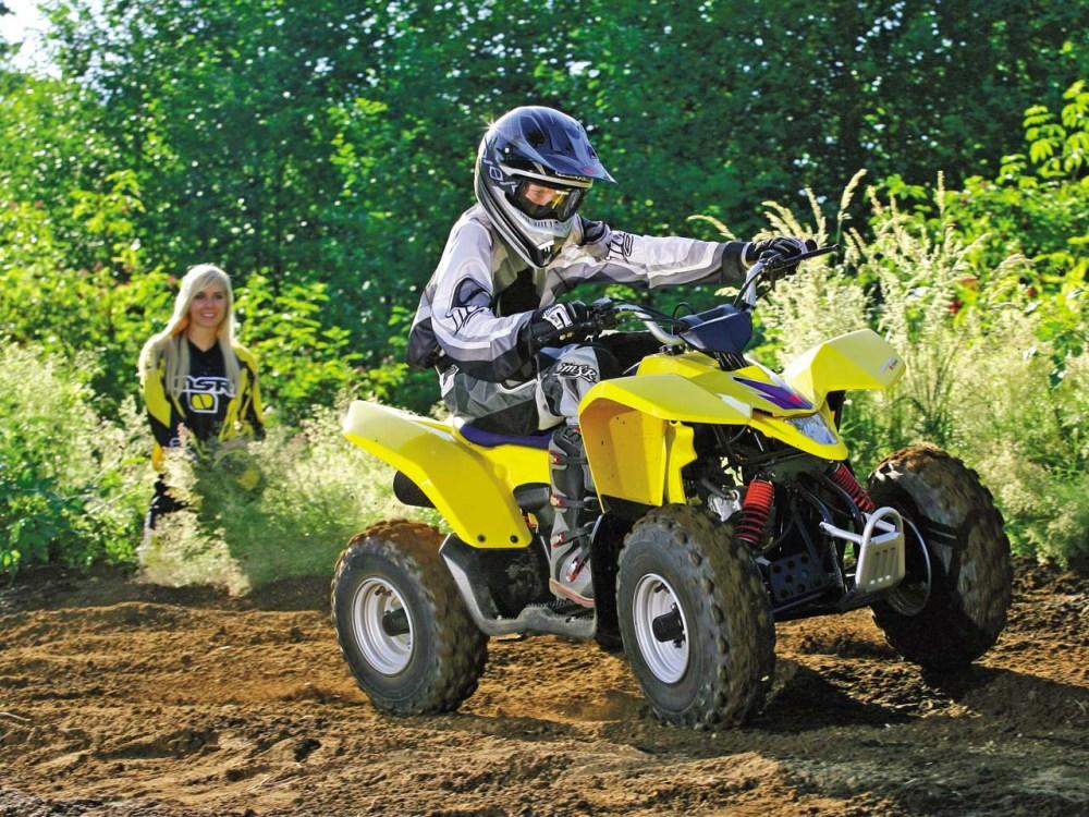 medium resolution of 2011 suzuki quadsport z90 yellow front right riding