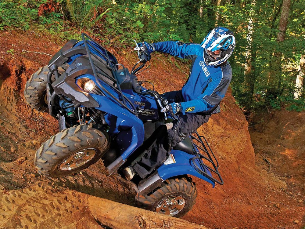 medium resolution of 2011 yamaha grizzly450eps blue front left riding up