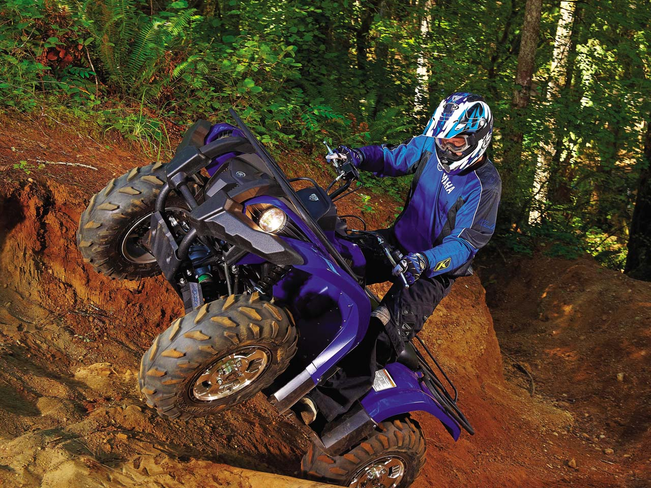 hight resolution of 2011 yamaha grizzly450eps front left blue rididng up