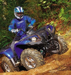 2011 yamaha grizzly450eps front right blue rididng over  [ 1280 x 960 Pixel ]