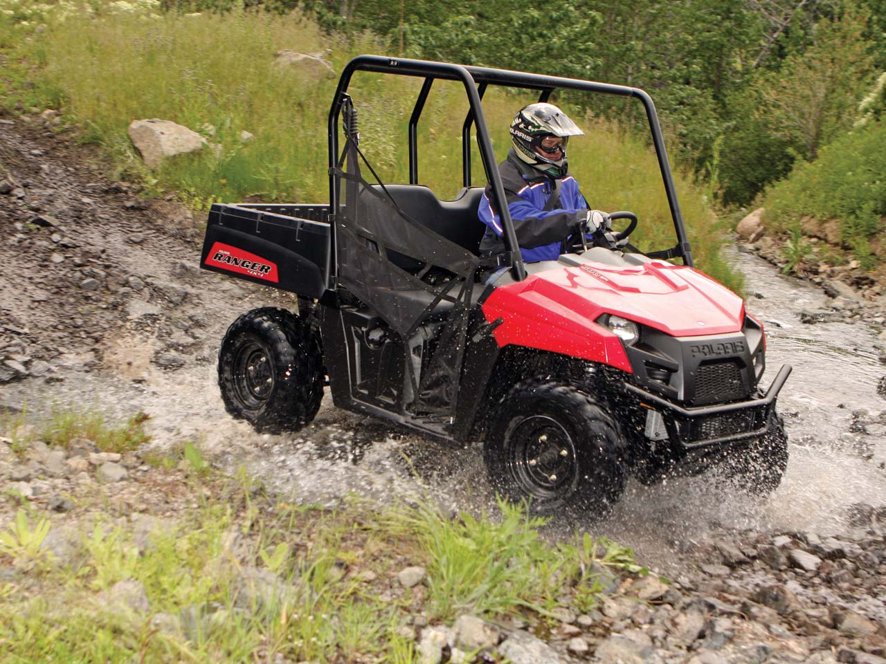 hight resolution of 2012 polaris ranger500efi red front right riding through
